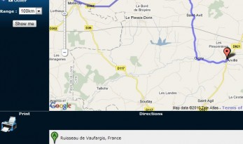 Google Maps on Angling Lines website