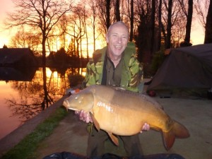 Rod Hazeldene with a 41lb winter carp out of Vaux., a lake that often has big winter discounts.