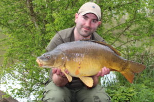 Angling Lines Field Tester Mike Linstead with a Mirror Carp from La Fonte, France