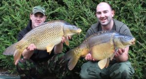 Angling Lines Field Testers Mike and Matt Linstead with a brace of carp from La Fonte in France